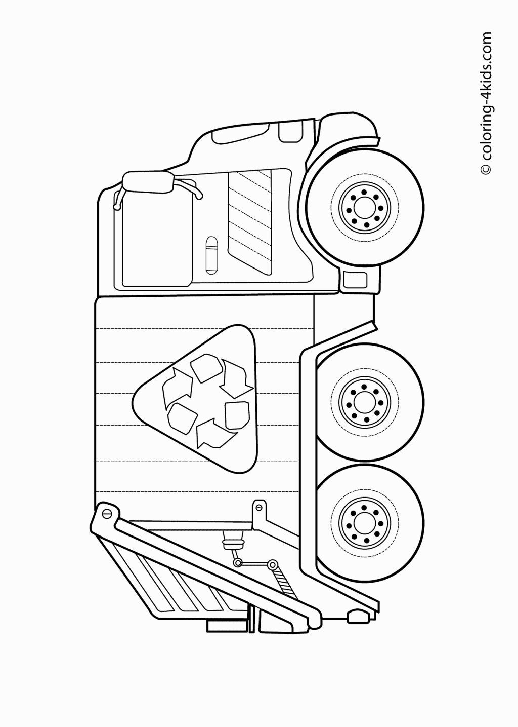 Printable coloring pages recycling - Garbage Truck Transportation Coloring Pages For Kids Printable Free