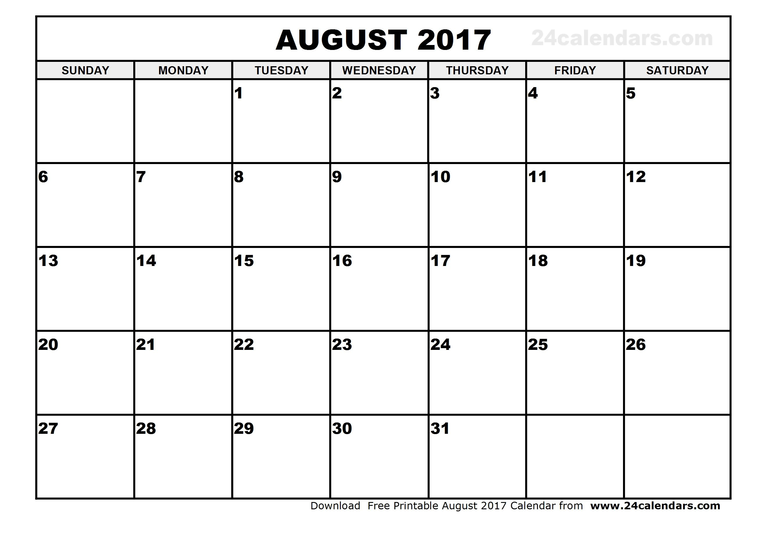 Best Free August 2017 Calendar Printable Template With Images