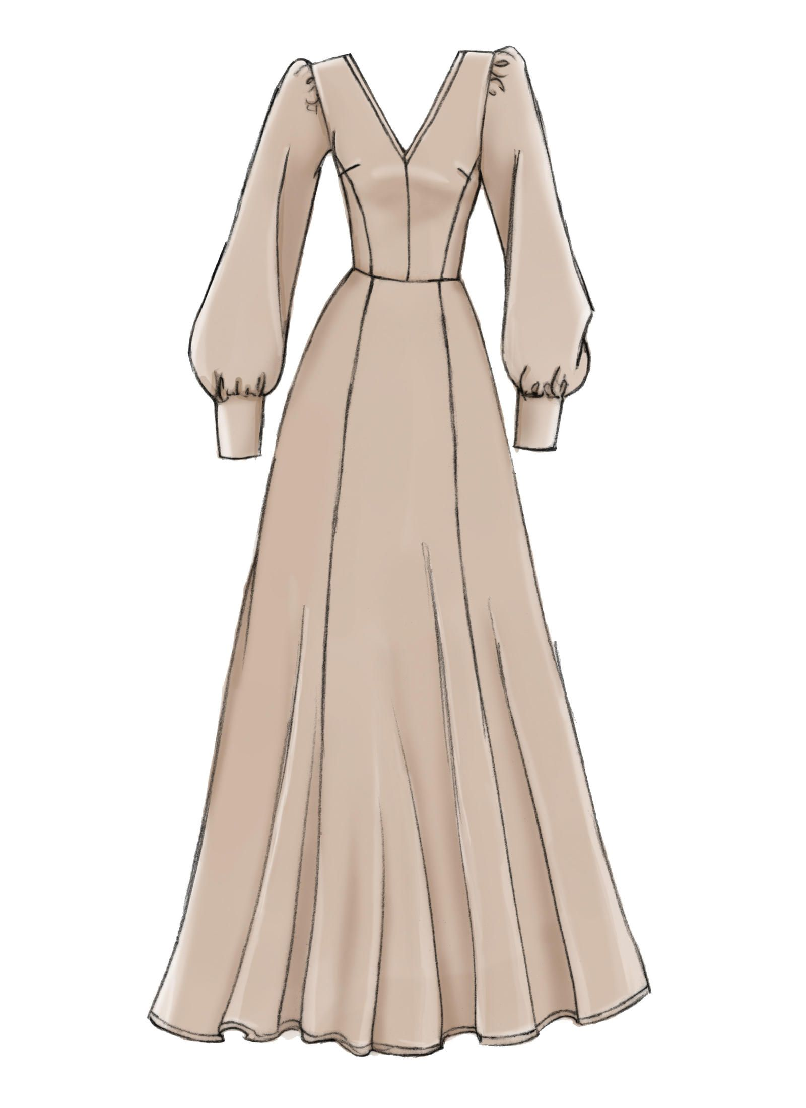 V9328 Misses Dress Sewing Pattern Vogue Patterns Maxi Dress Pattern Sewing Fashion Drawing Dresses Dress Design Sketches