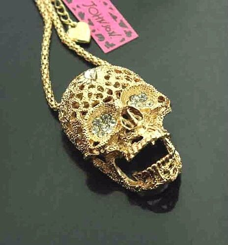 Betsey Johnson Women Men 10k Gold Plated Crystal Skull Pendant 28 34 Necklace Skull Pendant Crystal Skull Skull Necklace
