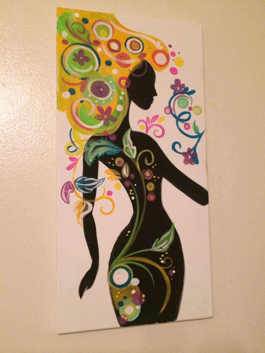 Silhouette painting colorful