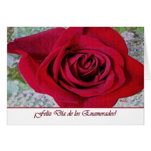 Spanish Valentine's Day, Red Tiled Rose Card