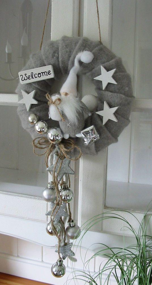 """Photo of Door wreath """"Christmas elf"""" felt Christmas wreath Christmas door decoration gray 21c …"""