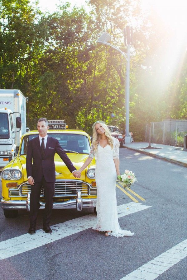 Lovely Bride And Groom Vintage Taxi Brooklyn New York Earthy Wedding At Kings County Distillery 23 Of 34