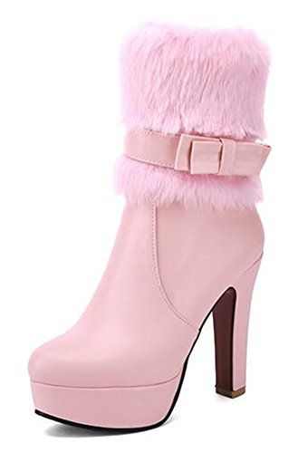 Women's Elegant Waterproof Faux Fur Lined Buckle Zipper Chunky High Heel Platform Wedding Winter Boots