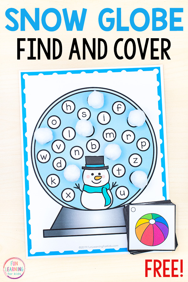 Snow Globe Find and Cover the Letters Alphabet Activity