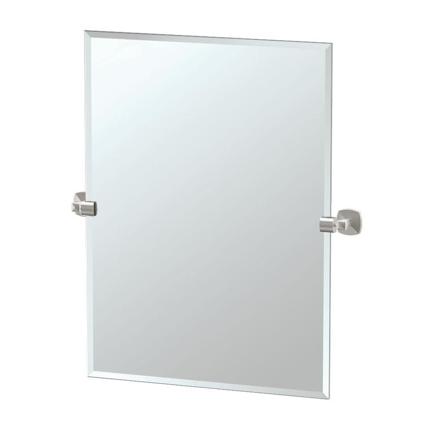 Photo Gallery On Website Gatco Gatco Jewel x Satin Nickel Rectangular Frameless Bathroom Mirror at Lowe us GLAMOURIZE your bath sanctuary with Gatco us superlative Jewel Suite