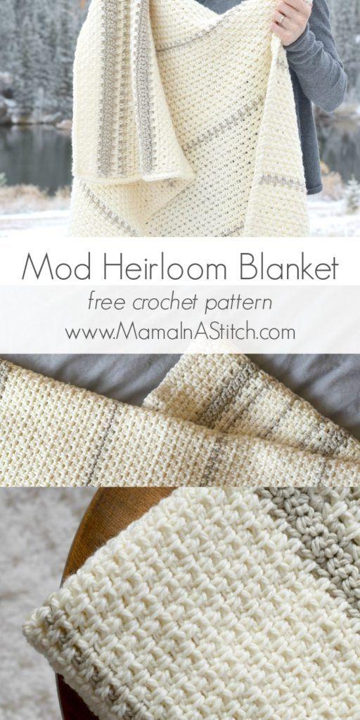 Mod Crochet Heirloom - Free Pattern | Cobija, Manta y Lana