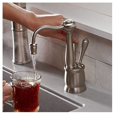InSinkErator Indulge Double Handle Deck Mounted Kitchen Faucet Finish: Satin Nickel