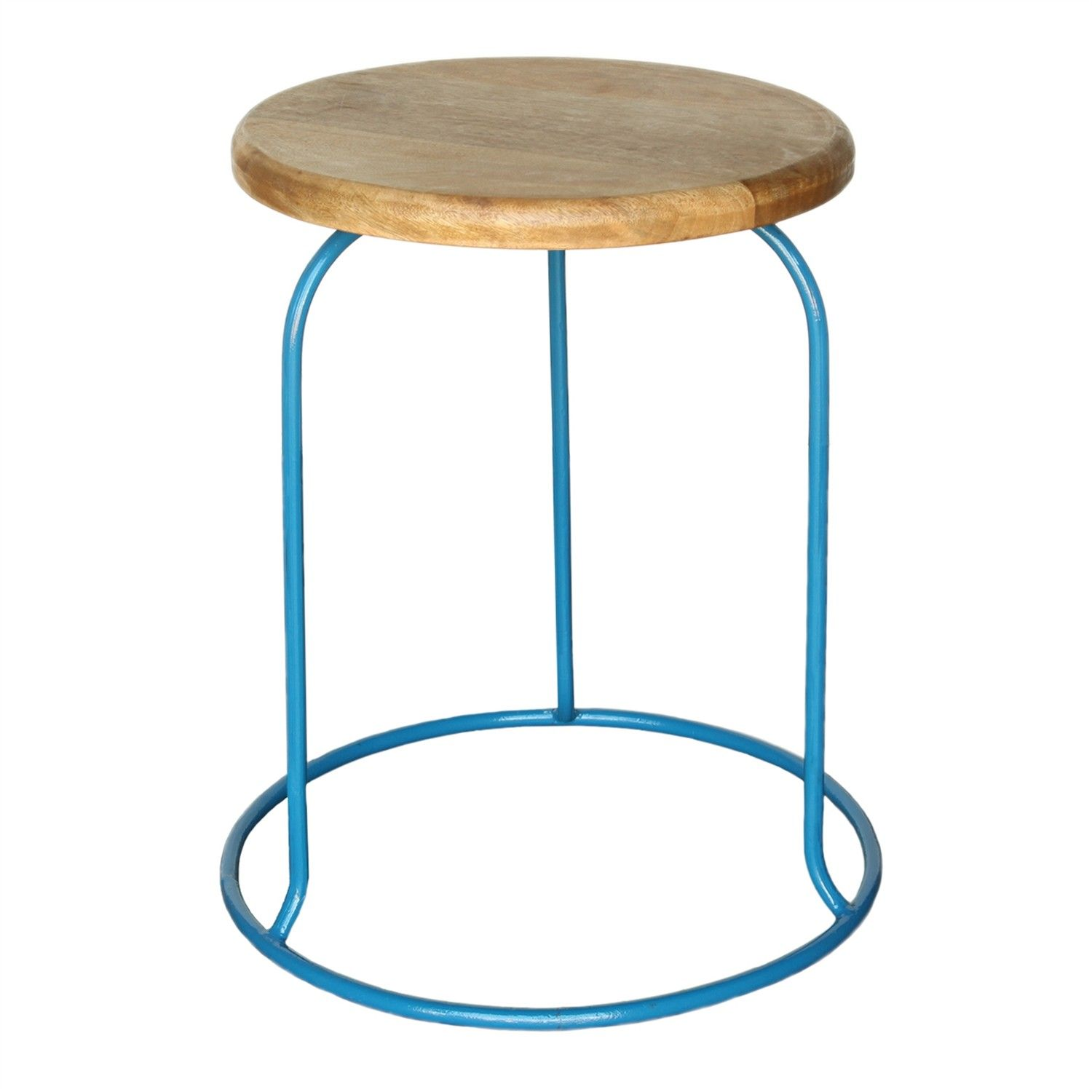 Homart+Graham+Iron+And+Wood+Stool,+Azure+ +