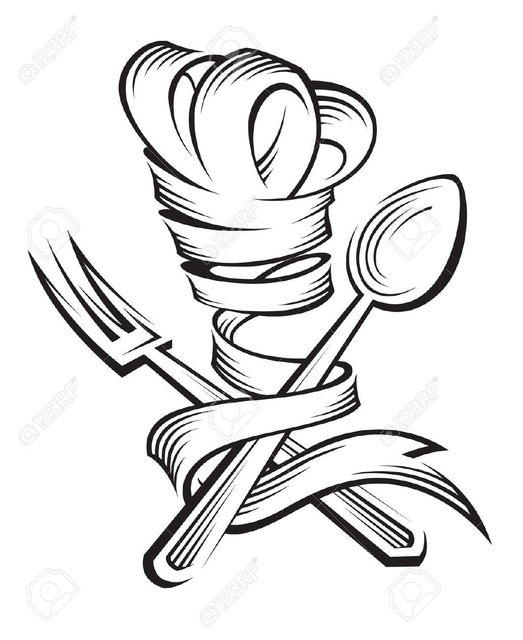 chef hat ribbon drawing google search great tattoos