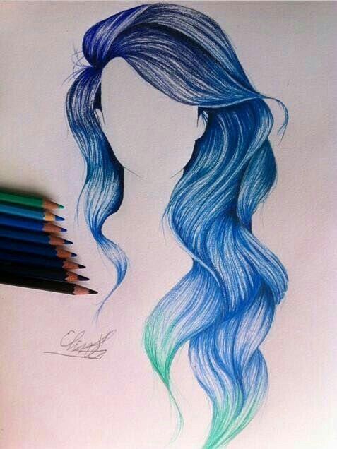 Cabo Azul Desenho Cabelo Mechas Cabelo Ondulado Desenho De