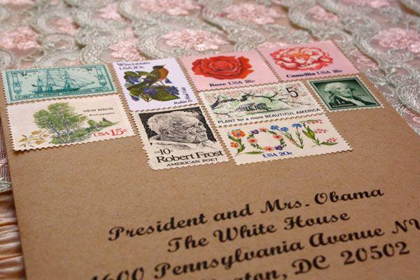 Vintage Postage Stamp Wedding Invitation Envelope Harmony Creative Studio