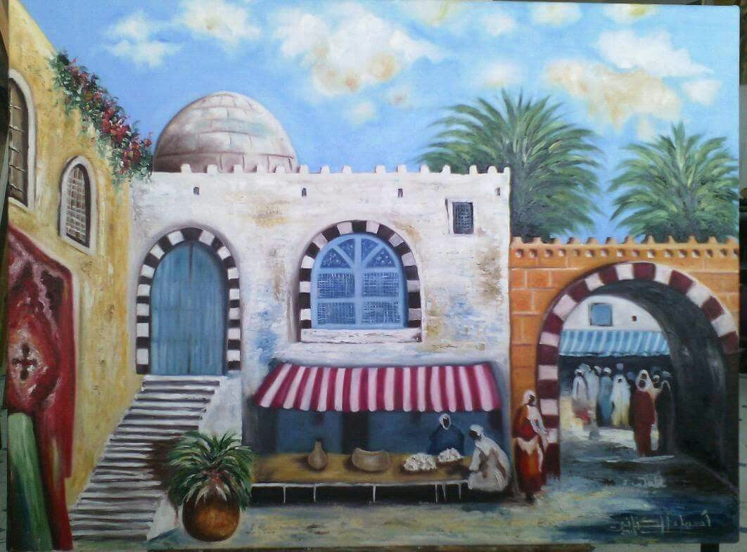 Peinture tunisienne | tableau toile | Taj mahal
