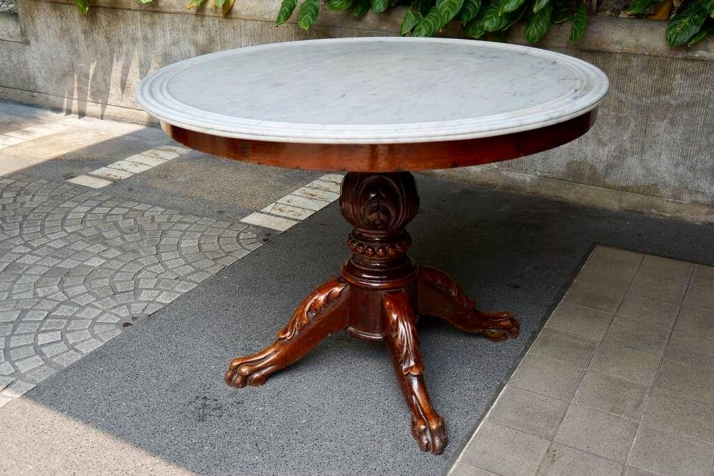 Marble Top Table From The Toledo Family Of Porac Pampanga 1850s Narra