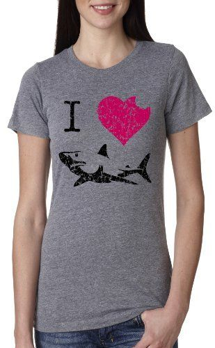 7b055c31 Women's I Love Sharks T Shirt Classic Shark Bite Shirt Shark Tee For Women,  http