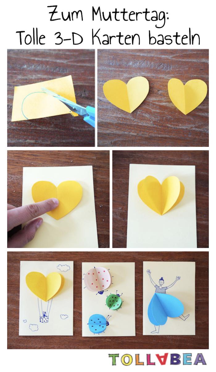 3D Karten mit Herzen - mit Kindern basteln