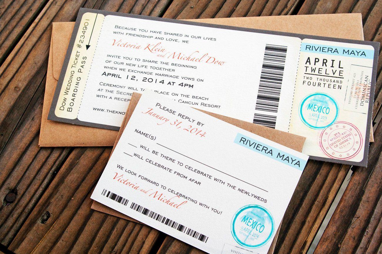 Boarding Pass Wedding Invitations - Passport Stamp Style - Printed ...