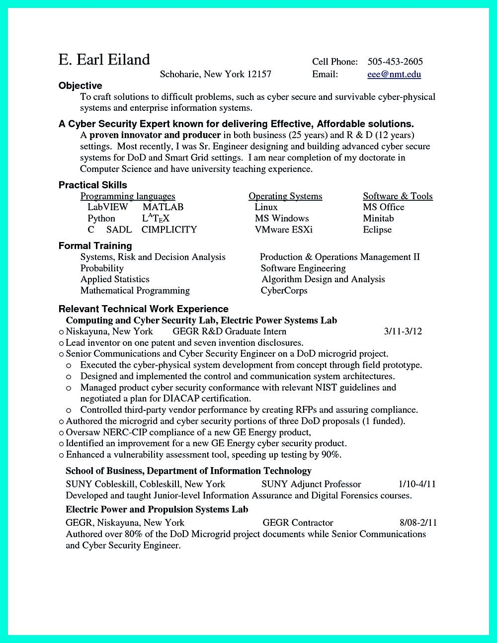 Superb Cyber Security Resume Must Be Well Created To Get The Job Position As What  You Want To Cyber Security Resume