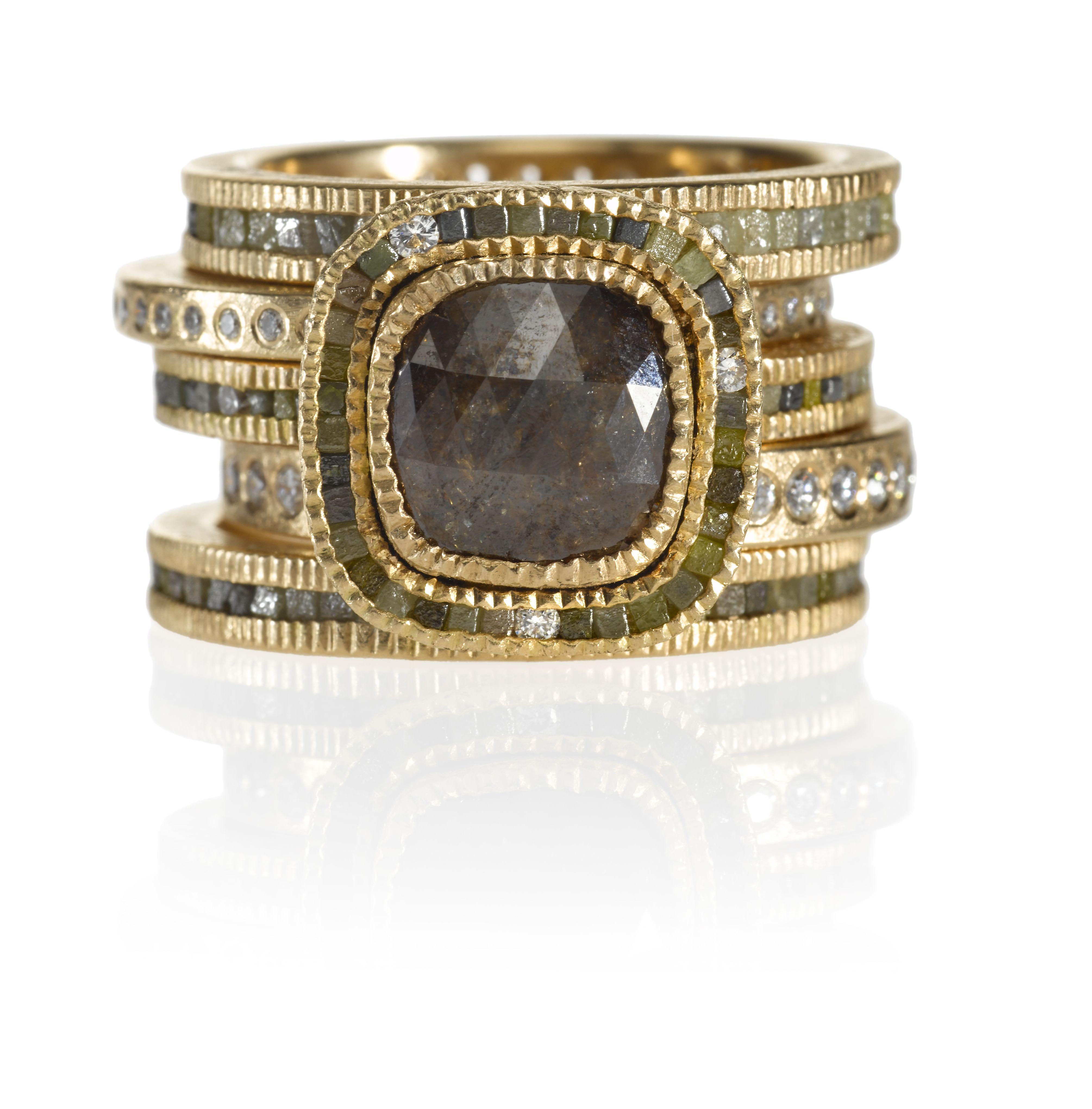 Todd Reed I Rose gold ring stack, made in Boulder