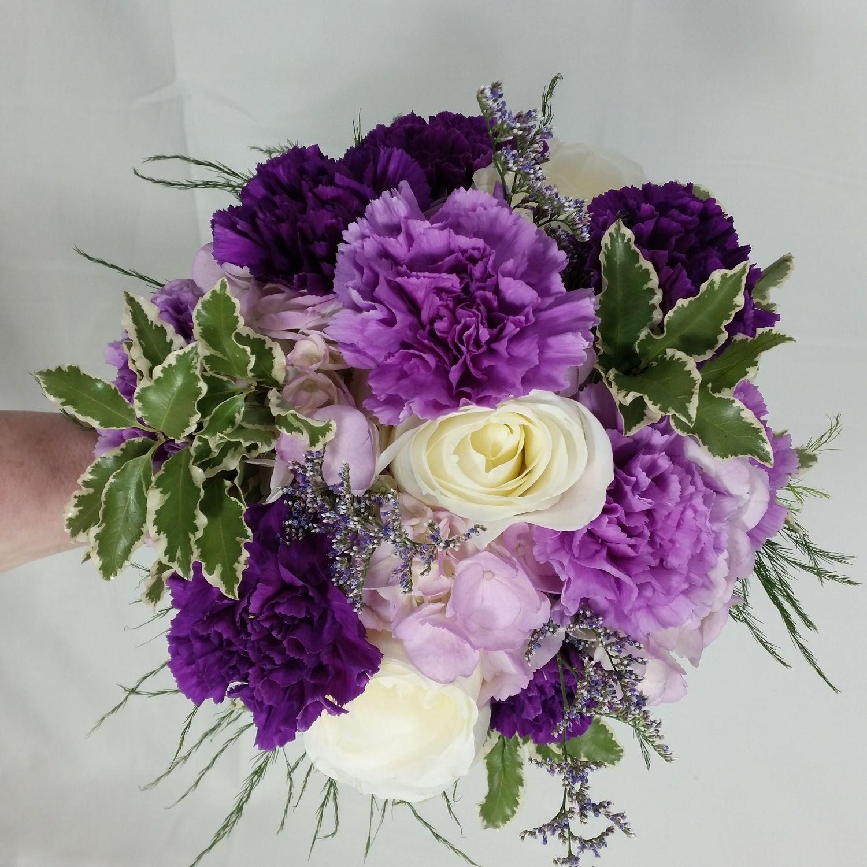 White Hydrangea Sprayed Lavender Lavender Carnation Large White Roses Purple Carnation And Caspia Limo Purple Carnations Bridesmaid Bouquet White Hydrangea