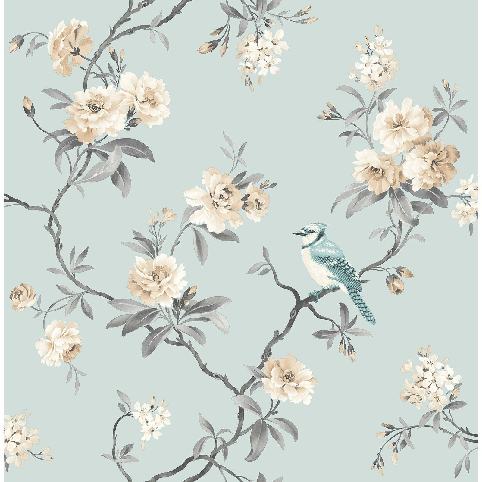 Chinoiserie Floral 33 X 20 5 Wallpaper Roll Blue Floral