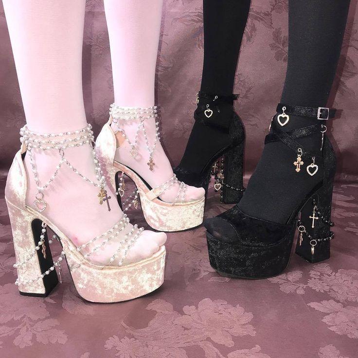 coquettefashion Pink Or Black Velvet Rosary Bead  Cross Platform Heels black aesthetic