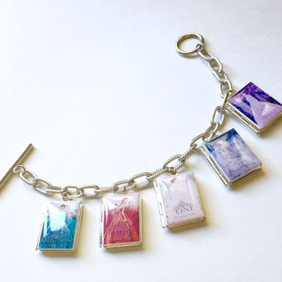 The Selection Series Book Bracelet Literary Locket Necklace Bookmark Keyholder Bag Charm