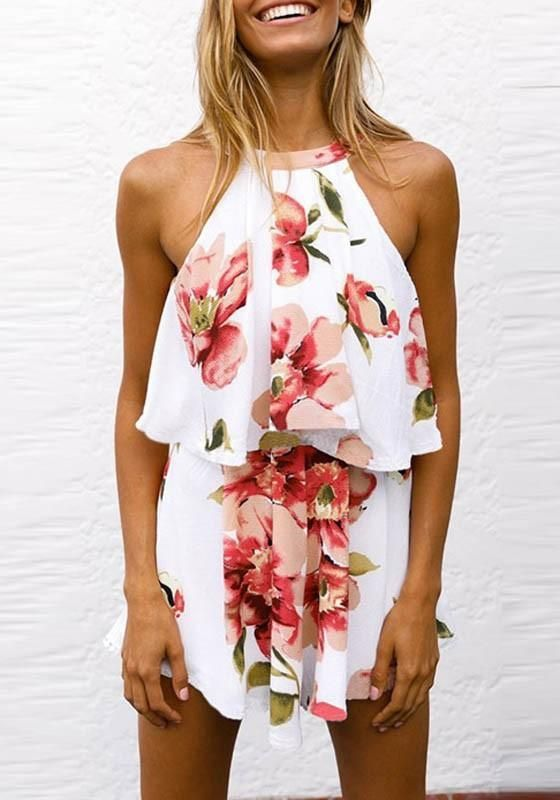 b726754eb78 White Floral Draped Zipper Tie Back 2-in-1 Fashion Short Jumpsuit ...