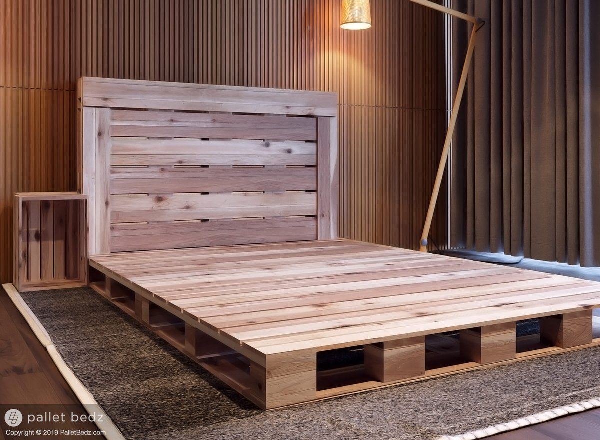 The Queen Pallet Bed In 2020 Wood Pallet Bed Frame Wood Pallet Beds Pallet Furniture Bedroom