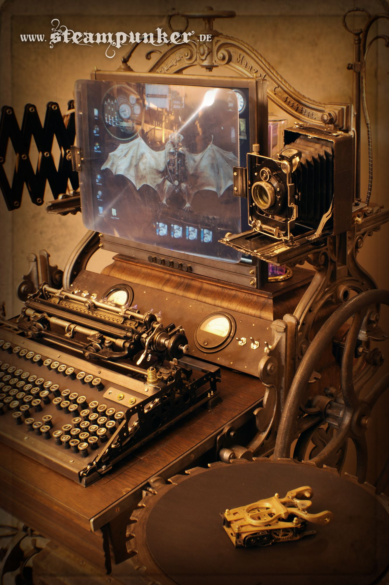 Fully Functional Steampunk Workstation... With Keyboard, Mouse, Screen,  Plasmau2026