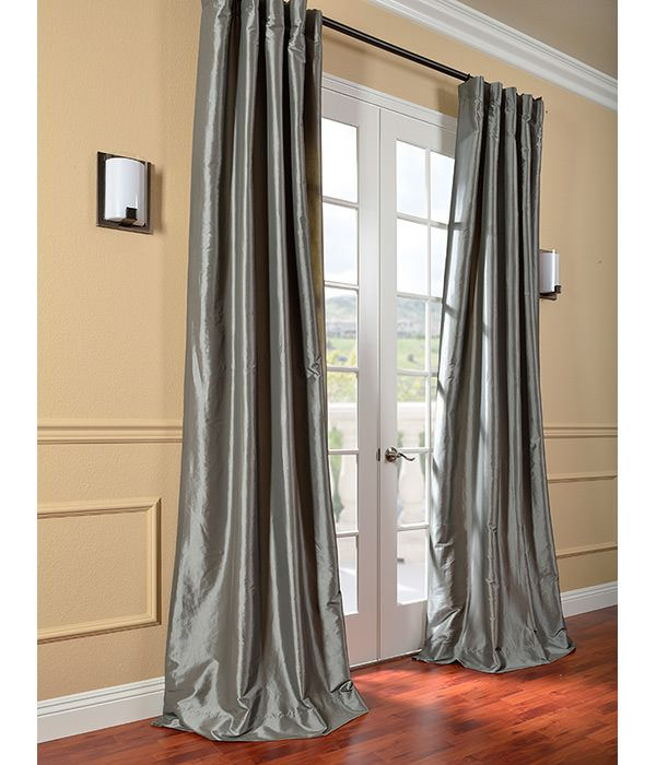 Faux Silk Taffeta Curtains Platinum Custom Drapes Panel Curtains 108 Inch Curtains
