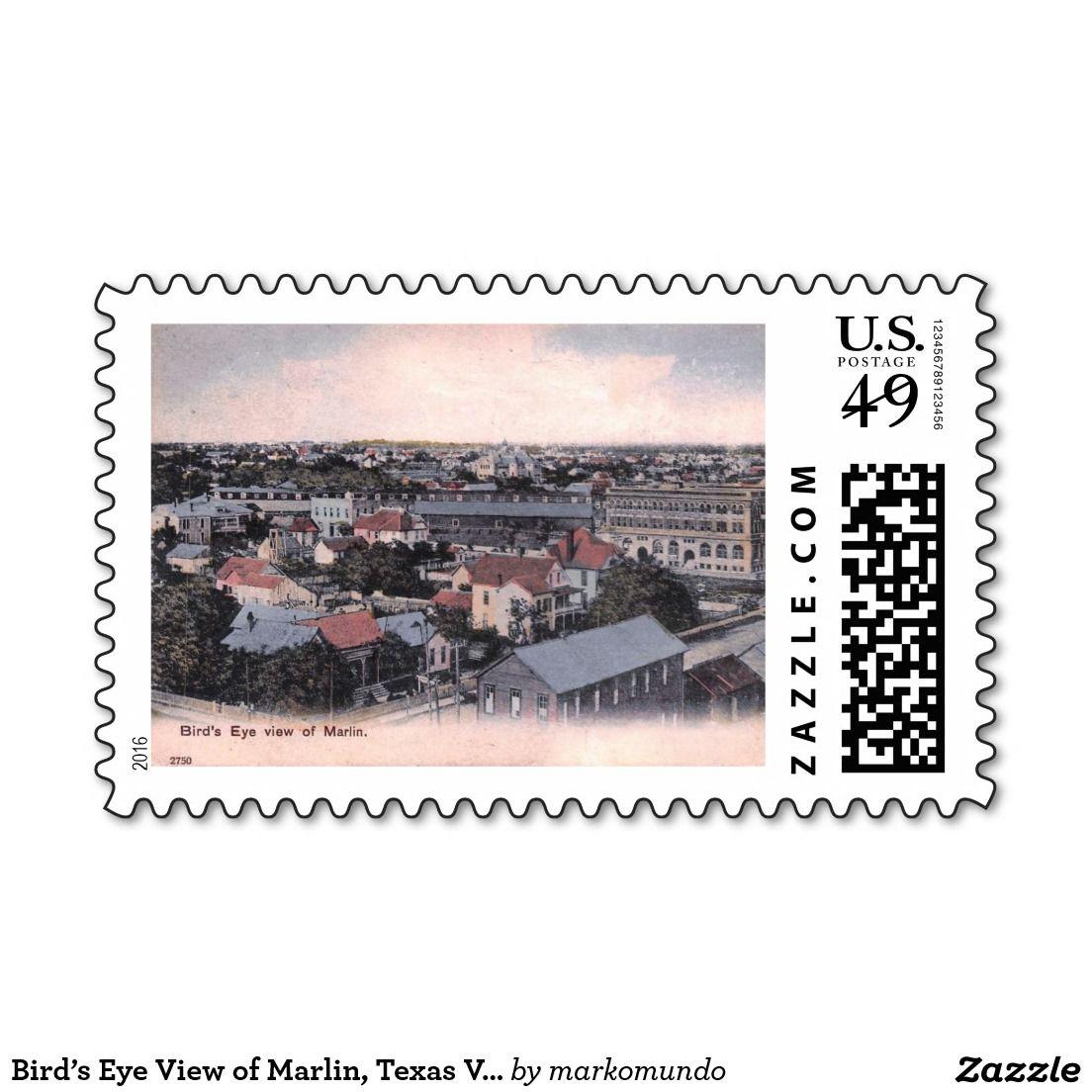 Bird's Eye View of Marlin, Texas Vintage Stamp