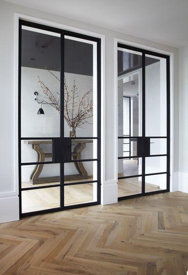 Light Herringbone Floors Steel Doors