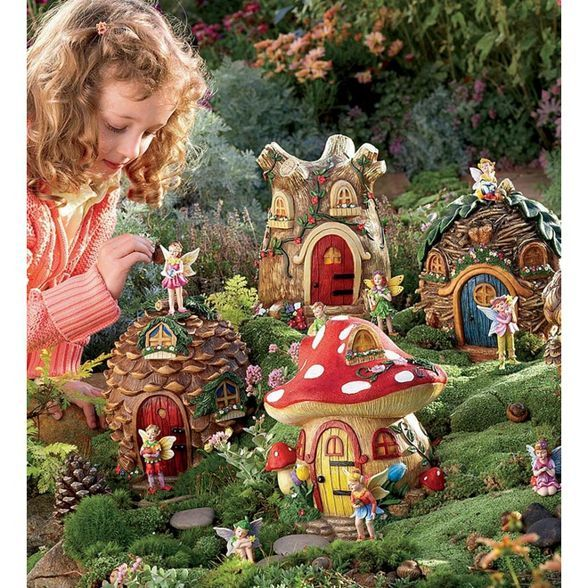 HearthSong Fairy Village Set with Five Decorative