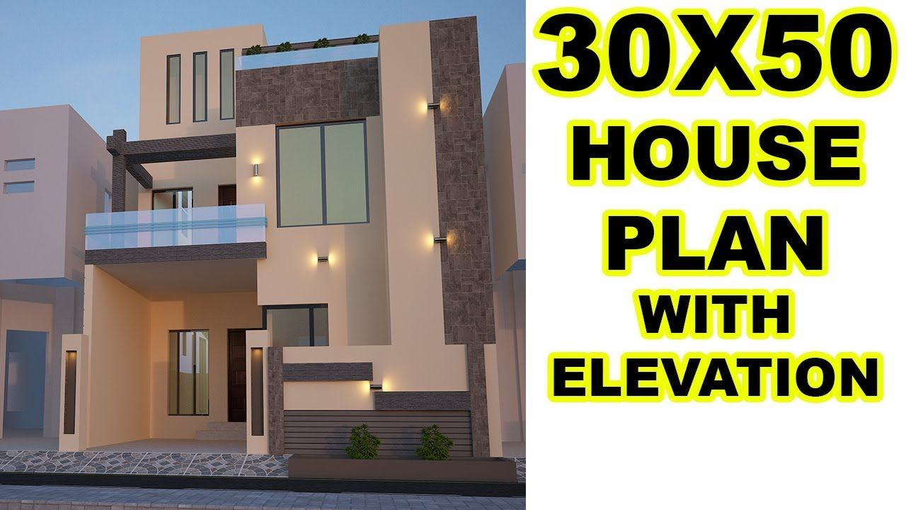 30x50 House Plan With Front Elevation 6 Marla House 30x50 House Plans House Plans Small House Front Design