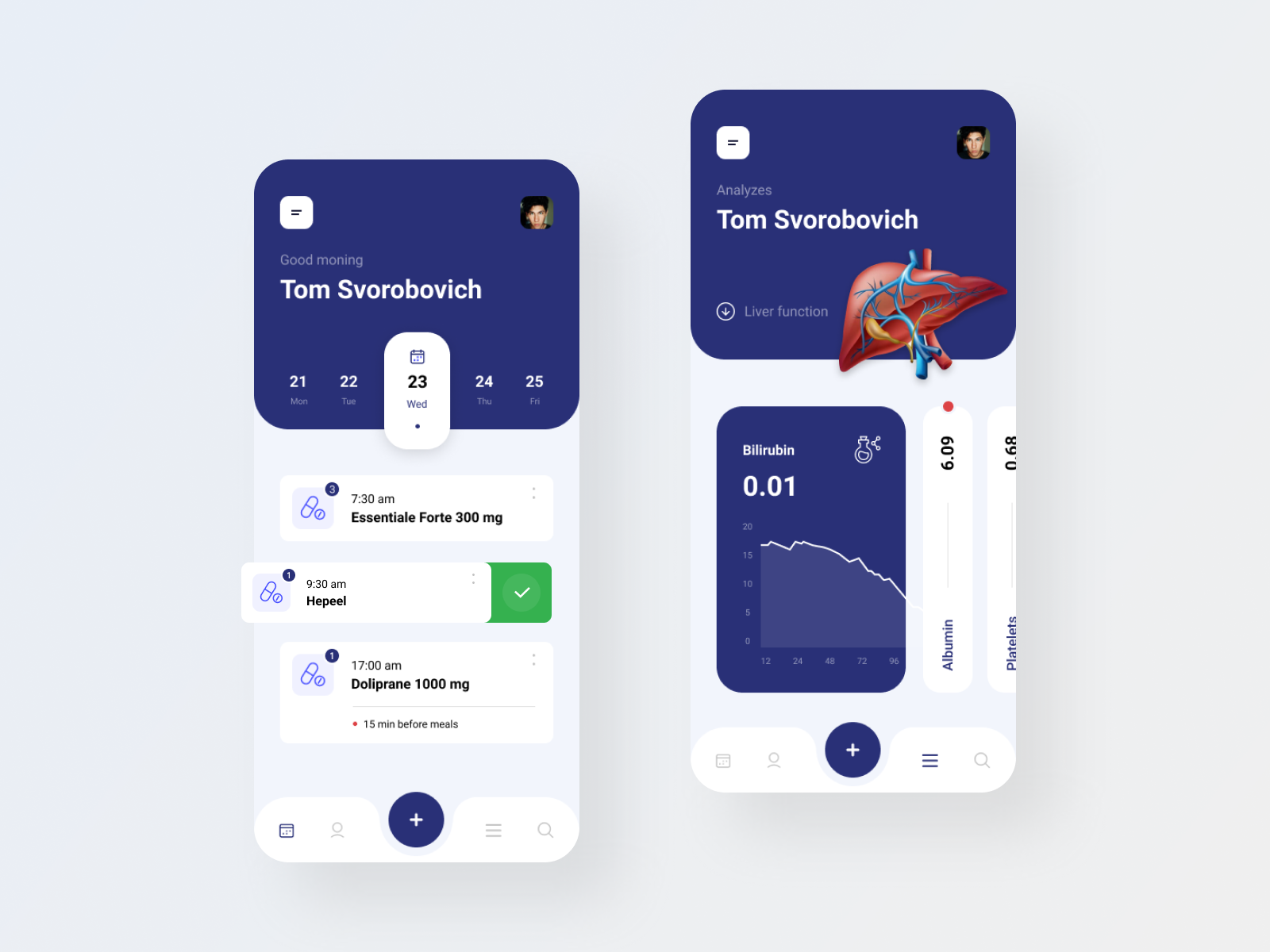 Health care app design