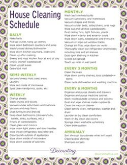 printable house cleaning schedule