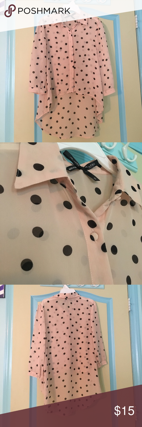 Polka dot high low button up Polka for high low top. Buttons in the front. Worn once. Only flaw is shown in the picture above, it's not a stain, seems to be a material defect. But it's on the back so not obvious at all. Bought from Windsor, bean Ali and kris. Offers are welcome! WINDSOR Tops Blouses