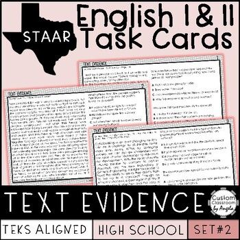 English I & II STAAR Text Evidence Task Cards | Task cards ...