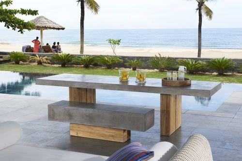 Ensemble table et bancs contemporain   en teck   en béton   de