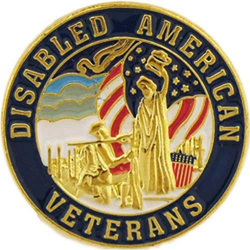 Disabled American Veterans Pin Round Lapel Military Patriotic Medals And Gifts