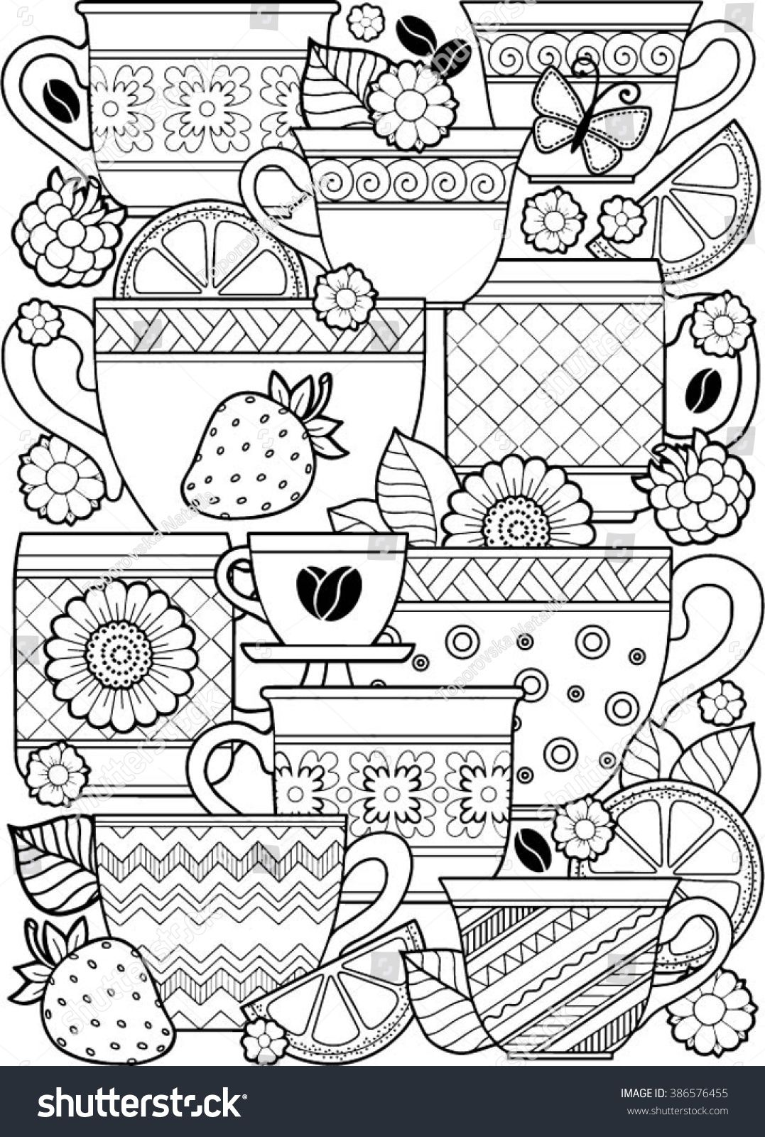 Vector coloring page. Coloring book for adult. Cups of herbal tea ...