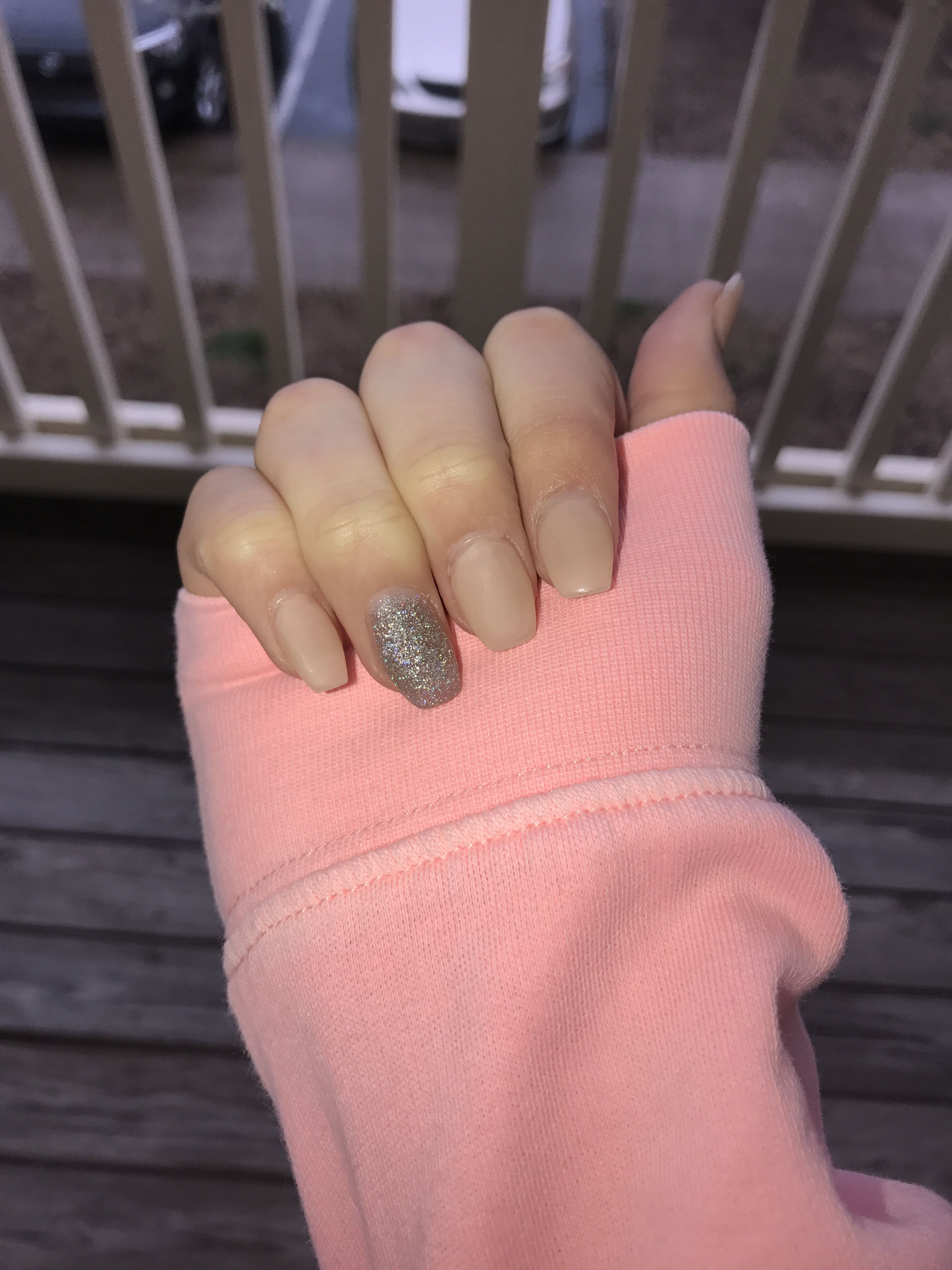 Acrylic Nails Coffin Shape Nude And Sparkle Paint