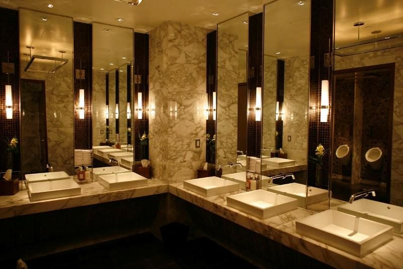 Public bathroom intercontinental new york times square for New york times interior design