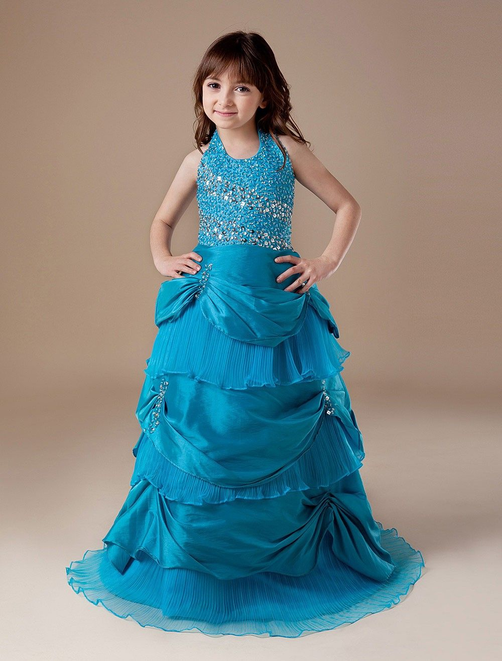 Blue taffeta floor length halted girlus pageant dress girl pageant