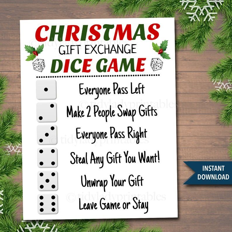 Printable Christmas Gift Exchange Dice Game, Christmas Party Game, Present Swap white elephant, dirty santa, INSTANT DOWNLOAD, Secret Santa
