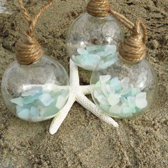 Coastal Christmas Ornaments x3 Sea Glass Ornament Set of