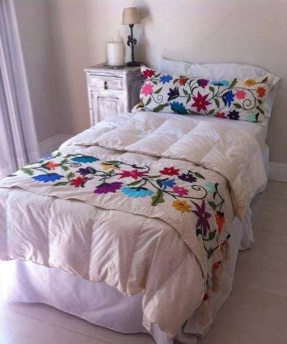 Kit bordado mexicano pie de cama una plaza almohadon - Pie de cama ...