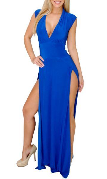 3563451cb0e Royal Blue Split Slit Maxi Dress (Involved-Great Glam)